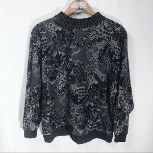 Vintage 1980s Black & Metallic Sweater